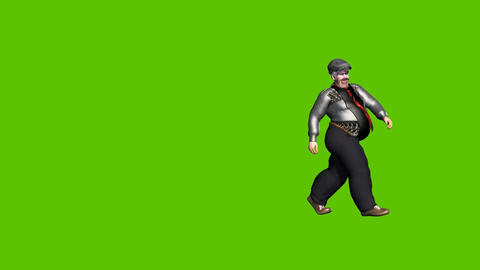 22 animated fat man walks wearing glasses and arround on green background Animation