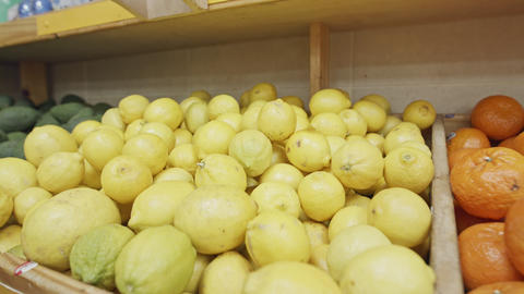 Large variety of vegetables and fruits on a supermarket shelves Footage