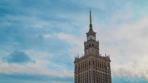 Time lapse of the spire of Palace of Culture and Science, historic high-rise Footage