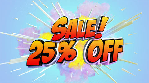 Comic explosion style animation of Sale label Animation