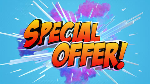 Comic explosion style animation of Special Offer label Animation