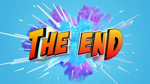 Comic explosion style animation of The End label Stock Video Footage