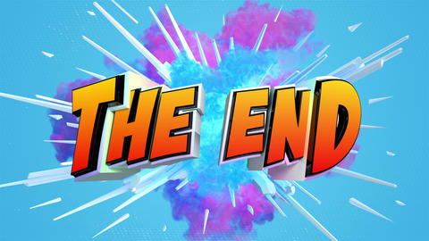 Comic explosion style animation of The End label Animation