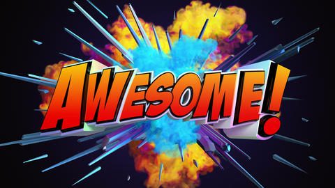Comic explosion style animation of Awesome text Animation