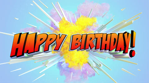 Comic explosion style animation of Happy Birthday text Animation