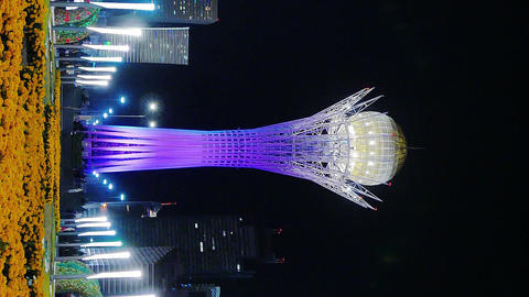 Vertical video. Baiterek - The central Landmark of the new Astana, in the light of night lights, Live Action