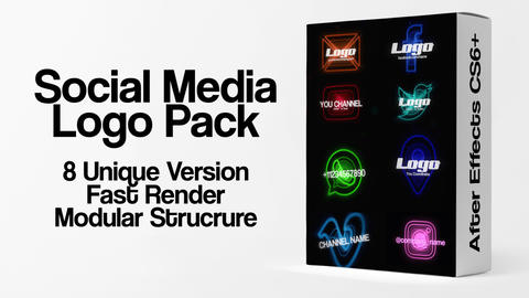 Glitch Social Media Logo Pack After Effects Template