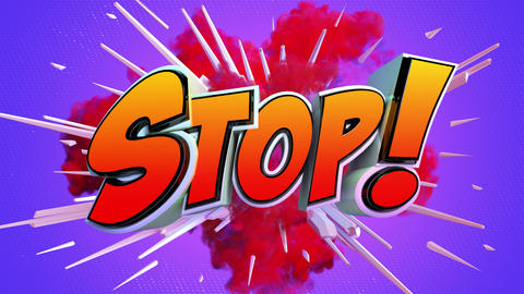 Comic explosion style animation of Stop text Animation