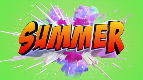Comic explosion style animation of Summer text Animation