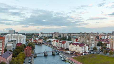Transition from sun day to cloud night. City center of Kaliningrad, Russia. View of the Fish Village Footage