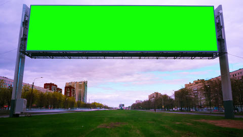 Green screen Billboard on the street of the city Live Action