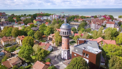 Russia, Zelenogradsk. Water tower Krantz. The city water tower was built in Kranz in 1904. Tower Footage
