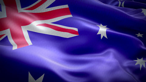 Realistic flag of Australia waving with highly detailed fabric texture Live Action