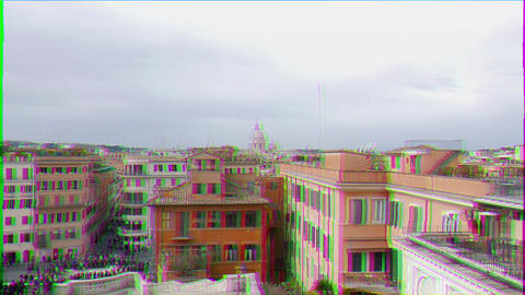 Glitch effect. Dome of Rome, view from the Spanish Steps. Rome, Italy Live Action