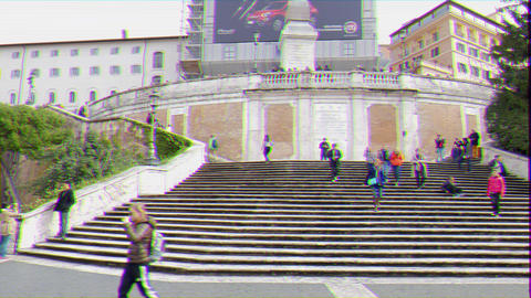 Glitch effect. Spanish Steps. Rome, Italy Footage