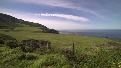 A gorgeous crane shot of the lush coastline of Big Sur Footage