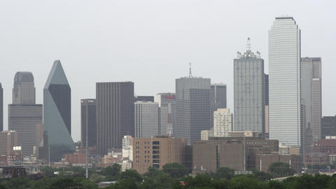 Shot of the Dallas skyline on a hazy day Footage