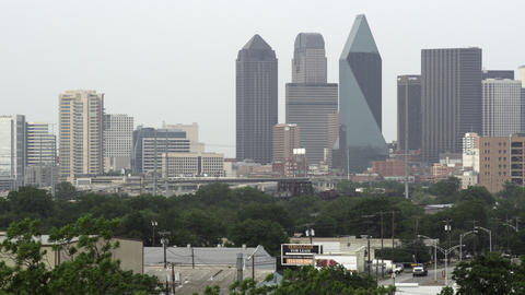Shot of Dallas skyline with hazy sky Footage