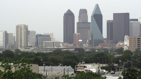Shot of Dallas skyline with hazy sky Footage