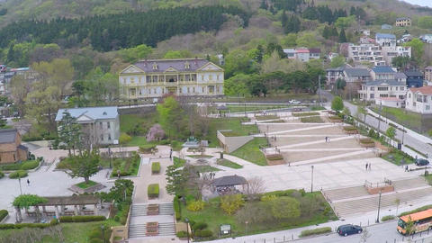 Former Hakodate public hall aerial shoot Footage