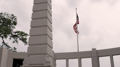 United States' flag blowing in the wind at Dealey Plaza, Dallas Footage
