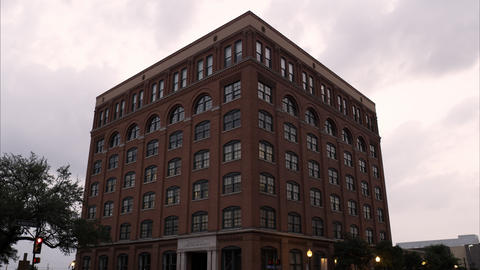 Static shot of the Texas School Book Depository at Dealey Plaza, Dallas Footage