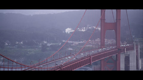 Medium tight static shot of the Golden Gate Bridge Footage
