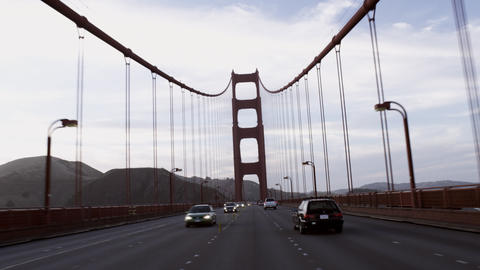 Point of view shot while driving on the Golden Gate Bridge Footage