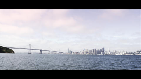 San Francisco and the Golden Gate Bridge as seen from across the bay just above  Footage