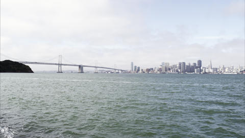 Static shot of the Golden Gate Bridge and San Francisco from across the bay Footage