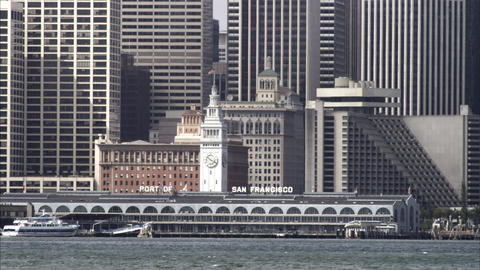 Tight panning shot of the San Francisco downtown waterfront Footage