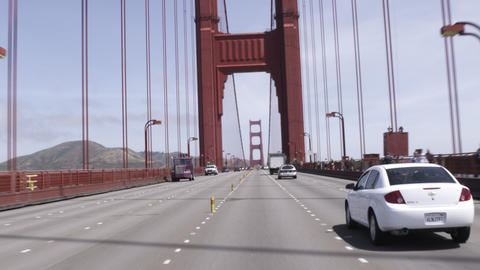 Point of view shot driving on the Golden Gate Bridge on a sunny day Footage