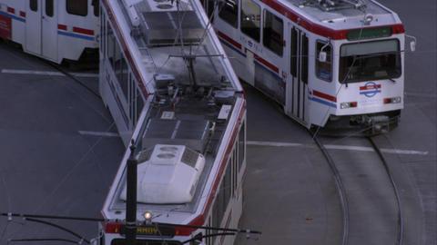 City trams in Salt Lake City, UT Footage