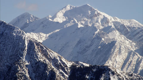 Static shot of snow cover mountains in the Wasatch range, Utah Footage