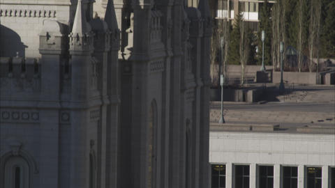 Tilting down shot of the Salt Lake City Temple Footage