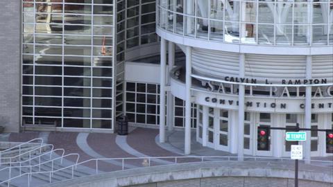 Panning shot of the Salt Palace Convention center in Salt Lake City, Utah Live Action