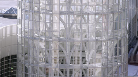 Tilting down shot of the Salt Palace Convention center in Salt Lake City, Utah Footage