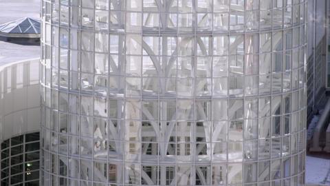 Tilting down shot of the Salt Palace Convention center in Salt Lake City, Utah Live Action