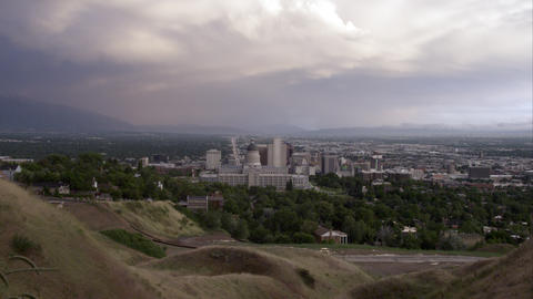 Downtown Salt Lake City seen from the hills behind Footage