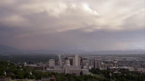 Shot of Salt Lake City from behind the Utah State Capitol building Footage