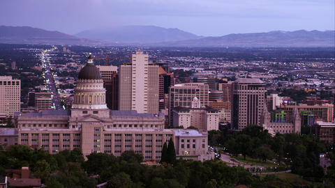 Static shot of Salt Lake City from behind the Utah State Capitol building Footage