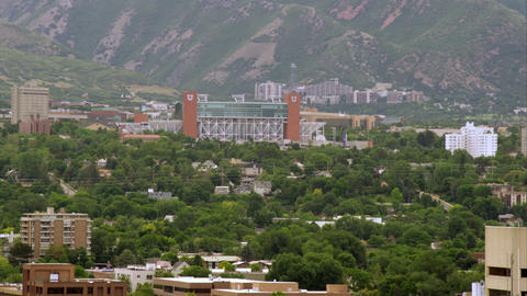 Wide shot of Rice Eccles Stadium at the University of Utah Footage