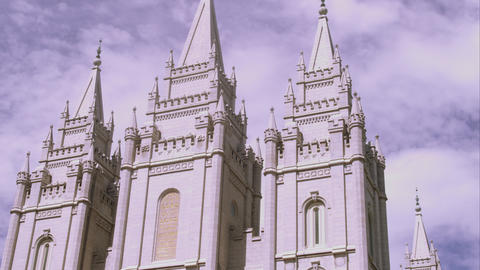 Tilting up shot of the front of the LDS Salt Lake Temple from a diagonal angle Footage