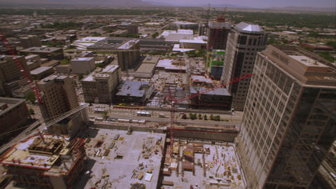 Shot looking over the edge of the top of a high rise building in Salt Lake City Footage