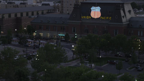 Dusk shot of the Union Pacific building in Salt Lake City Footage