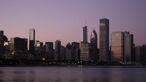 Static shot of the Chicago cityscape across the water Footage