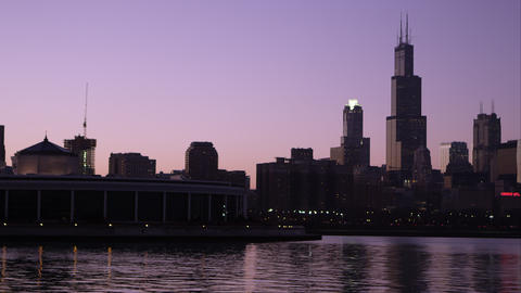 Static shot of the Chicago cityscape from across the bay Footage