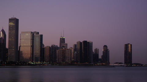 Static shot of the Chicago cityscape over the water Footage