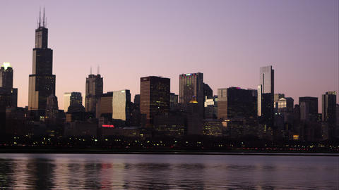 Static shot of the Chicago cityscape across the bay Footage