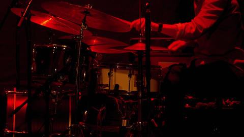 1080p Drummer Man / Drum Set / Playing Drums. Jazz Drummer Playing on Stage Footage